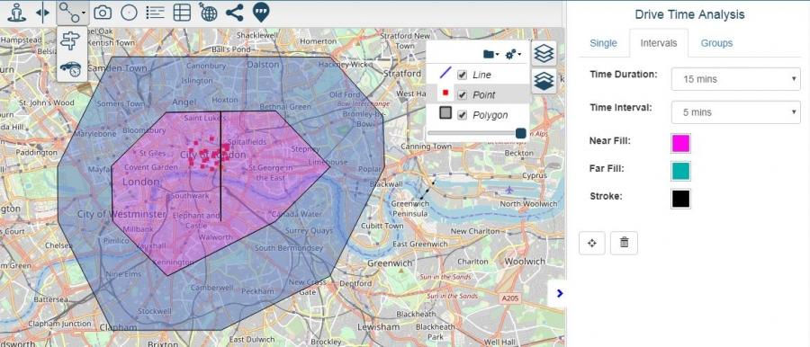 Drive Time Analysis Cloud GIS