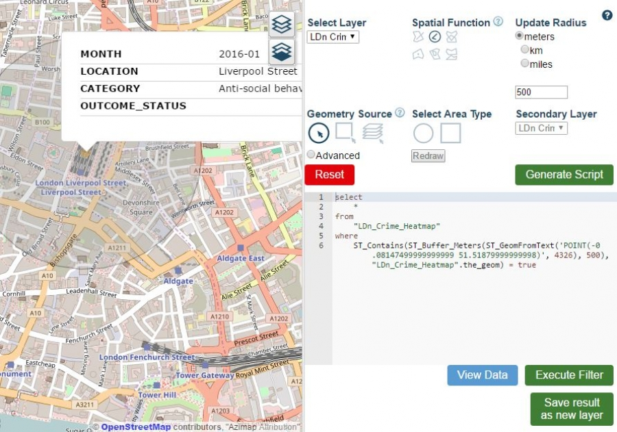GIS Spatial Search Features