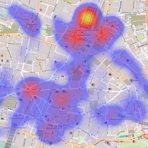 City of London Crime Heat Map September 2015