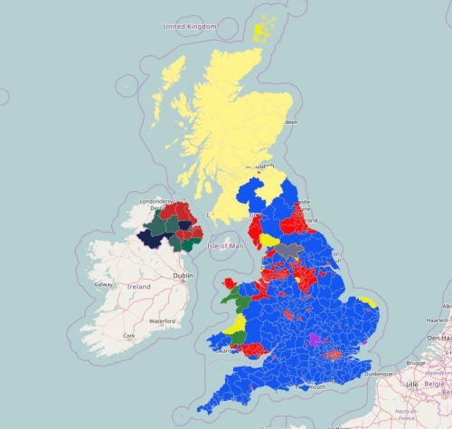 Predominance Map of the UK 2015 Election Results