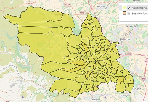 Sheffield Primary and Secondary School Catchment Areas
