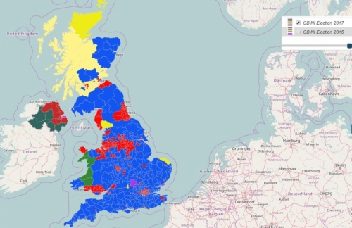 predominance map depicting the 2017 uk election results